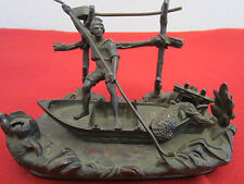 OLD NAUTICAL BRONZE FISHERMAN STATUE INK WELL