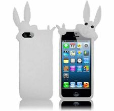 Apple iPhone 5 5S SE Rubber SILICONE Soft Gel Skin Case Phone Cover White Rabbit