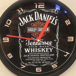 "Harley-Davidson Shield /Jack Daniels Label 9"" Wall clock w/ Neon Orange hands"