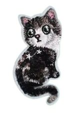 "Cat Patch Kitten Embroidered Iron On Applique 3.86"" X 1.81"" Animals"