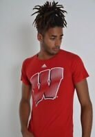 Mens Vintage Adidas Wisconsin Tee T-Shirt - Red - Size S Small - (C3)