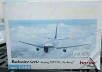 herpa boeing 737-200 flensburg modellflugzeug in ovp 1:500 aus metall nr 515931