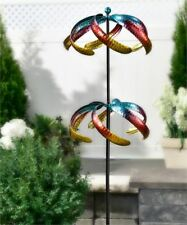 """60"""" Iron Celestial Design Dual Wind Spinner Double Pronged Garden Stake New"""