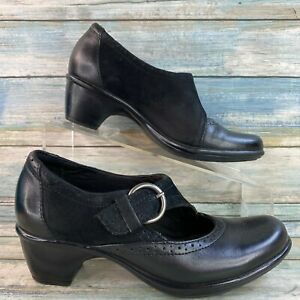 Clarks Womens Black Mary Jane Pumps Shoes Leather/Suede Adjustable Strap Size 5M