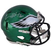 CARSON WENTZ Autographed Eagles Chrome Speed Mini Helmet FANATICS