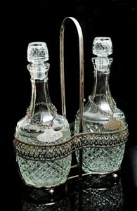 VINTAGE TWIN DIAMOND GLASS DECANTERS  SILVER PLATED TANTALUS CARRIER