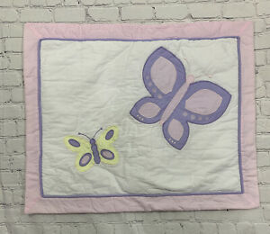 "Pillow Case Sham Standard Size Butterfly White Pink Purple 20x26+2"" JoJo Designs"
