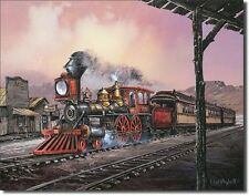 Steam Engine Locomotive Iron Horse Railroad Train TIN SIGN Wall Poster Decor Ad