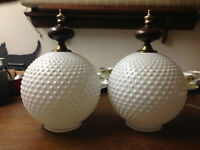 2 Vintage Hobnail White Milk Glass Lamp Shade Globe Dome & Ceiling Light Fixture