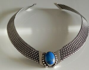 SUBLIME✨ 62g sterling silver turquoise heavy basket woven choker collar necklace