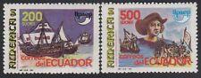 Upaep Ecuador 1231/32 1991 Colón carabelas Sta María Niña Pinta MNH