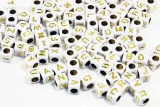 Buchstabenperlen Würfel 6x6x6 mm 100 Stk. Buchstaben weiß/goldfarben Perlen Mix