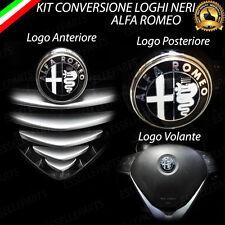 NUOVO LOGO NERO ANTERIORE + POSTERIORE + VOLANTE PER ALFA ROMEO 147 156 GT