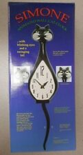 1 Black Simone Animated Wall Cat Clock Nib W/ Blinking Eyes And A Swinging Tail