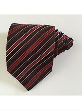 Hugo boss men tie striped brown red coral and white 100 % silk