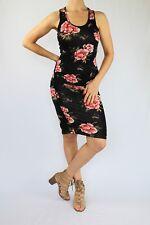 Venus Ruched Tank Dress, Multi-color on Black, Floral, Size Medium M