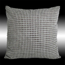 """SIMPLE GRAY SOFT VELVET CHECKED DECO THROW PILLOW CASE CUSHION COVER 17"""""""