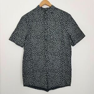 H&M Size Small Mens Regular Fit Floral Blue & White Short Sleeve Button Up Shirt