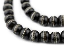 Silver-Inlaid Black Bone Mala Beads 10mm Nepal Round Large Hole 36 Inch Strand