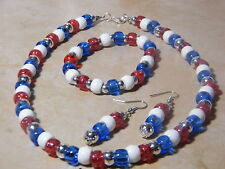 Red White Blue Jewelry Set Pierced or Clip On