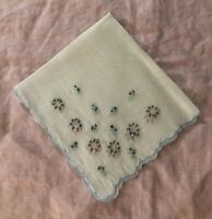 Vtg Handkerchief 50's Embroidery Rings Repurpose Shabby Chic Craft Wedding EUC