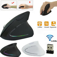 Wireless Mouse 2.4GHz Game Ergonomic Design Vertical Mouse 1600DPI USB Mice &Mat
