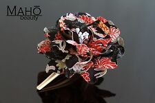 DAHLIA Gorgeous Japanese KANZASHI hair clip claw real KIMONO crepe FLOWER BLACK