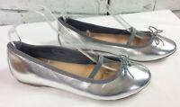 Next Silver Pumps Ballet Flats Shoes UK Size 5 star charm detail