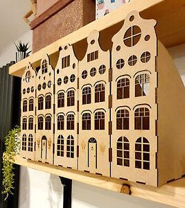 Set of 5 Dutch House Magazine Paper Storage file holders Plain Wood