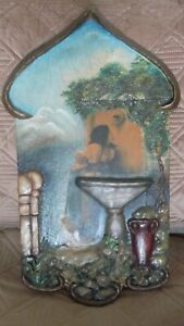Rare Plaster Art on Wood C. H. 1929 Must See Pictures