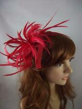 Red Feather Spray & Sinamay Comb Fascinator - Ascot Wedding Races