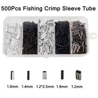 500pcs Fishing Copper Aluminum Crimps Sleeves Tubes Kit Leader Rigging Connector