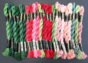 23x Needlepoint/Embroidery THREAD DMC 5 Pearl cotton-pinks, reds, greens-TN114