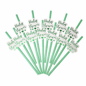 24  Baby Shower Straws   Gender Reveal Party Decoration Green Paper Drinking