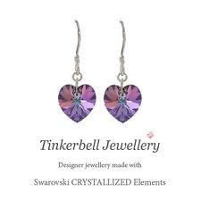 925 Sterling Silver Drop Earrings w Swarovski Elements Crystal VL Purple Heart