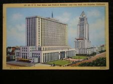 POSTCARD USA LOS ANGELES - US POST OFFICE & FEDERAL BLD & CITY HALL C1955