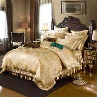 Luxury 4pc. 6pc. Golden Bronze Jacquard Satin Cotton Wedding Duvet Cover Bed Set