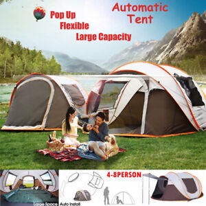 4-8 Person Instant Auto Pop-Up Camping Tent Khaki Waterproof Family Shelter Tent