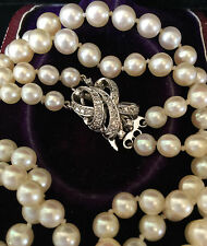 Art Deco Cultured Akoya Pearl Necklace on 14ct, 14k Gold Diamond cluster clasp