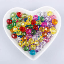 100Pcs Mixed Colors Faceted Glass Crystal Loose Bicone Spacer Charms Bead 6mm