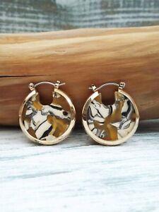 Anthropologie Gold Round Tortoise Hoop Earrings