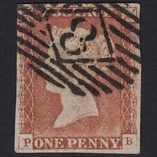 N18 GB QV 1841 1d PALE RED-BROWN PLATE 68 SG9-B1(3) PB FU LONDON NO.8 4 MARGINS