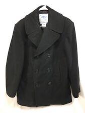 DSCP Black Wool US Navy Pea Coat Mens 40 R USN Jacket Overcoat Military Anchors