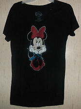 NWT WOMENS Disney Minnie Mouse BLACK KNIT TOP / T-shirt SIZE XS