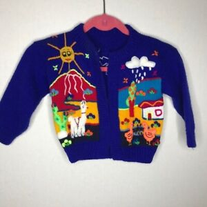 Hand Knit Blue Cardigan Colorful Llama Animals Boys Size 4/5 READ