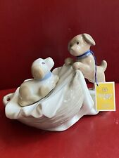 New Tengra Hand Made Valencia- Spain Porcelain Figurine Playing Puppies 4� Tall