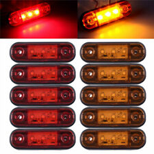 "5 Red 5 Amber 3LED Side Marker Lights 3.4"" Truck Trailer Sealed Clearance Lights"