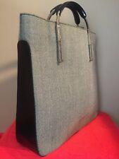 LANCEL Silver-toned hardware Black Leather Herringbone double-handle Purse