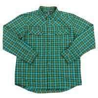 Stio Eddy Mens Long Sleeve Snap Button Up 100% Nylon Plaid Shirt Sz Medium Green