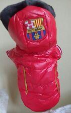 Chien chiot manteau rouge matelassé aspect mouillé rouge pet bébé 10 à l'arrière longueur bordure en fourrure capuche